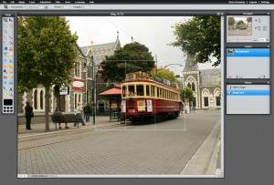 Cropping an image in Pixlr - Note the rectangle around the tram