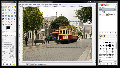 The Gimp - Showing cropping rectangle