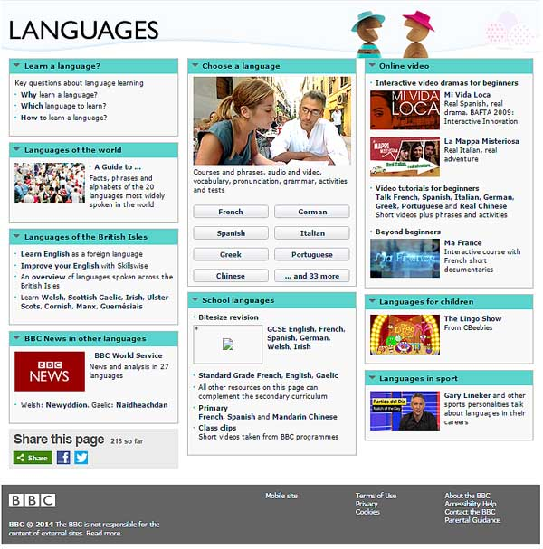 The BBC languages page