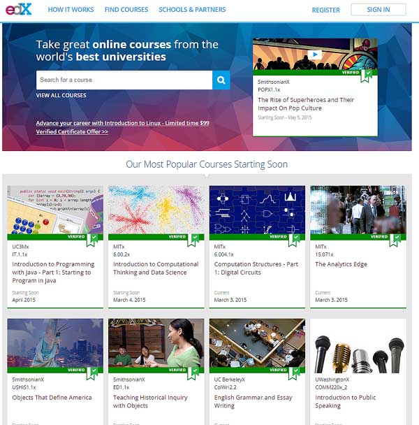 The edx home page