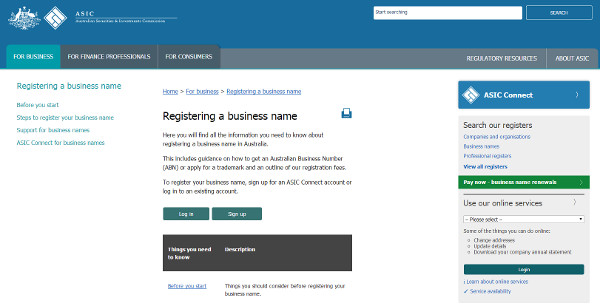 The ASIC website where you check for and register a business name. Note the search box at top right
